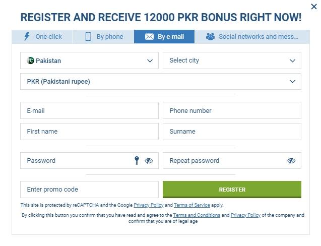 registration process on 1xBet